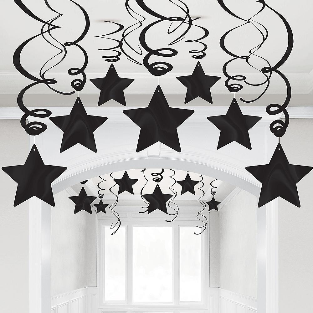 Black Star Swirl Decorations, 30ct Image #1