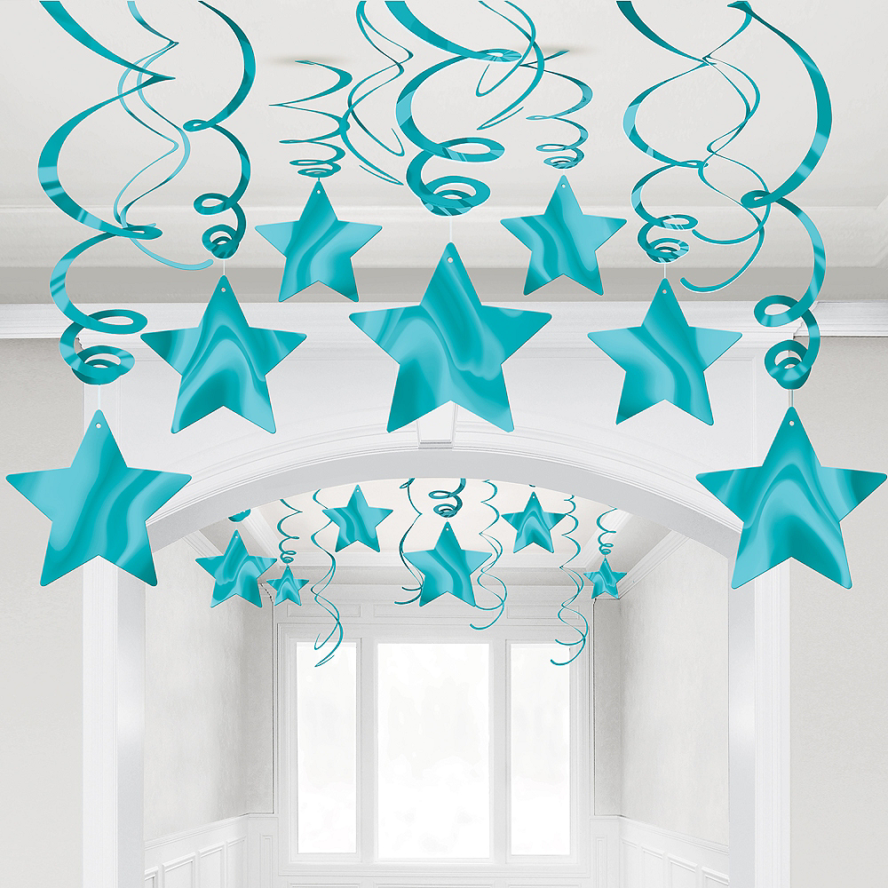 Caribbean Blue Star Swirl Decorations, 30ct Image #1