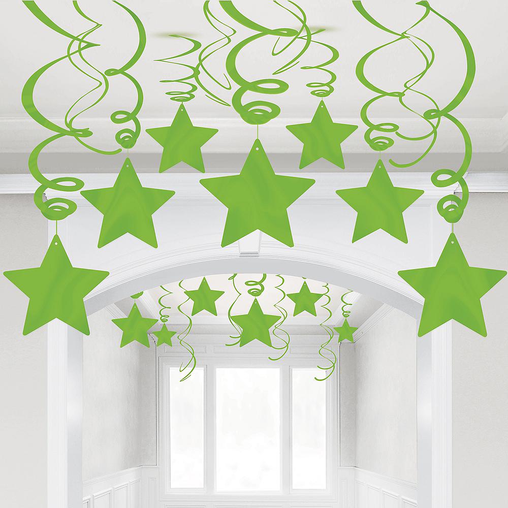 Kiwi Green Star Swirl Decorations, 30ct Image #1
