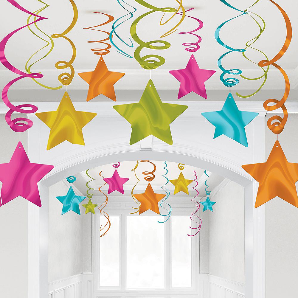 Bright Multicolor Star Swirl Decorations, 30ct Image #1