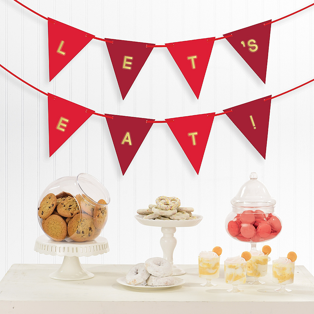Personalized Red Pennant Banner, 15ft Image #1