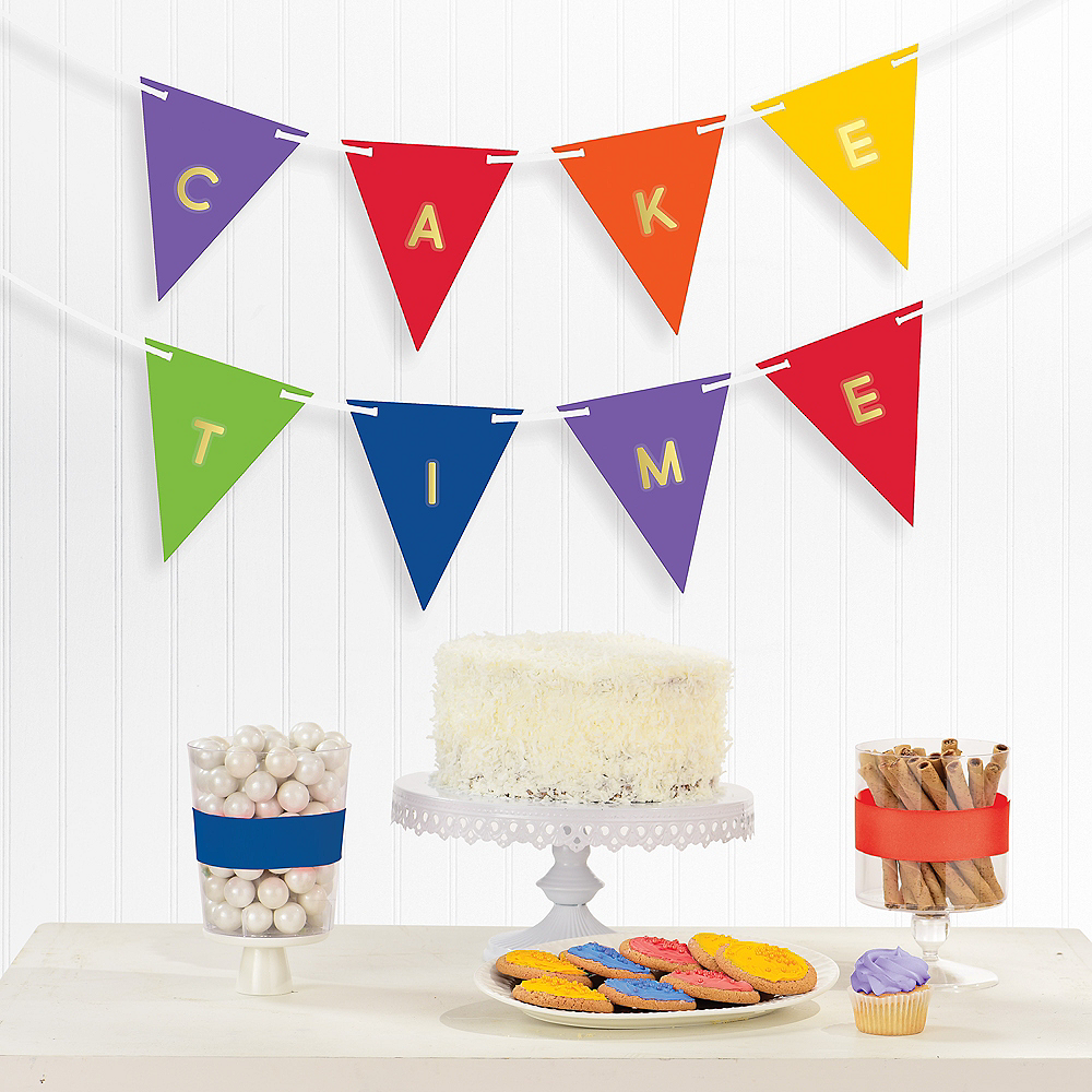 Personalized Rainbow Pennant Banner, 15ft Image #1