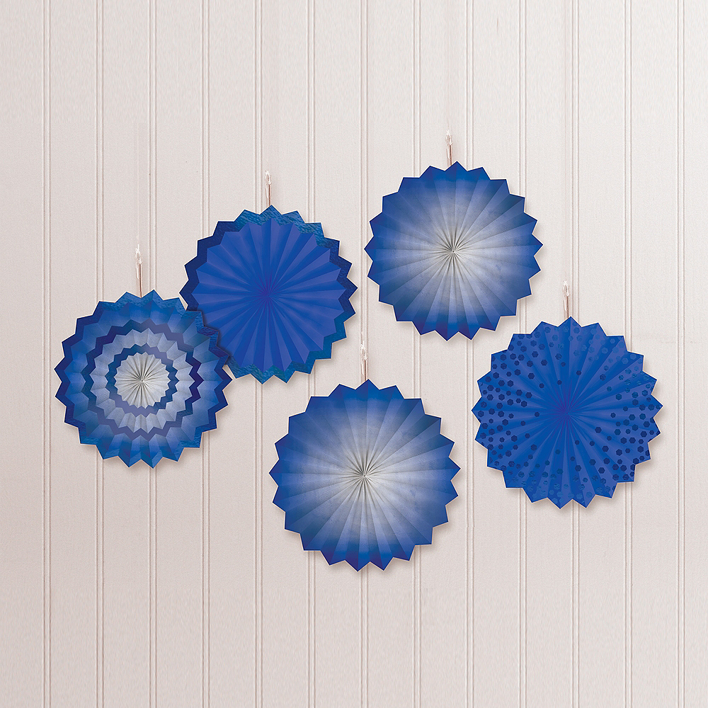 Royal Blue Mini Paper Fan Decorations, 6in, 5ct Image #1