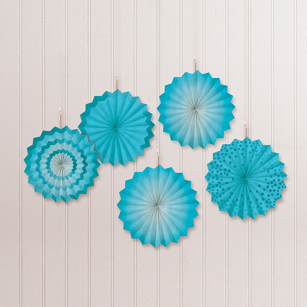 Caribbean Blue Mini Paper Fan Decorations, 6in, 5ct Image #1
