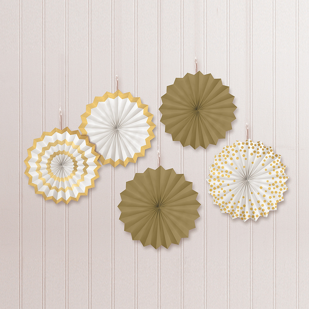 Gold Mini Paper Fan Decorations, 6in, 5ct Image #1