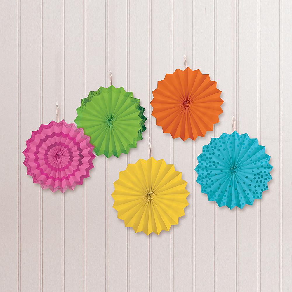 Bright Multicolor Mini Paper Fan Decorations, 6in, 5ct Image #1
