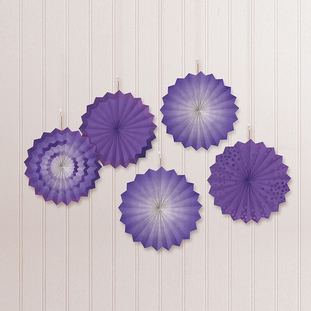 Purple Mini Paper Fan Decorations, 6in, 5ct Image #1