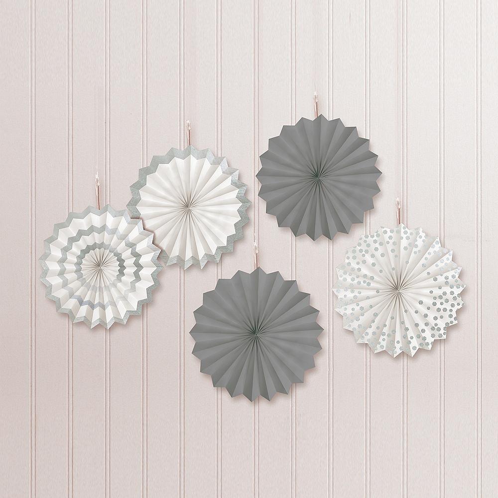 Silver Mini Paper Fan Decorations, 6in, 5ct Image #1