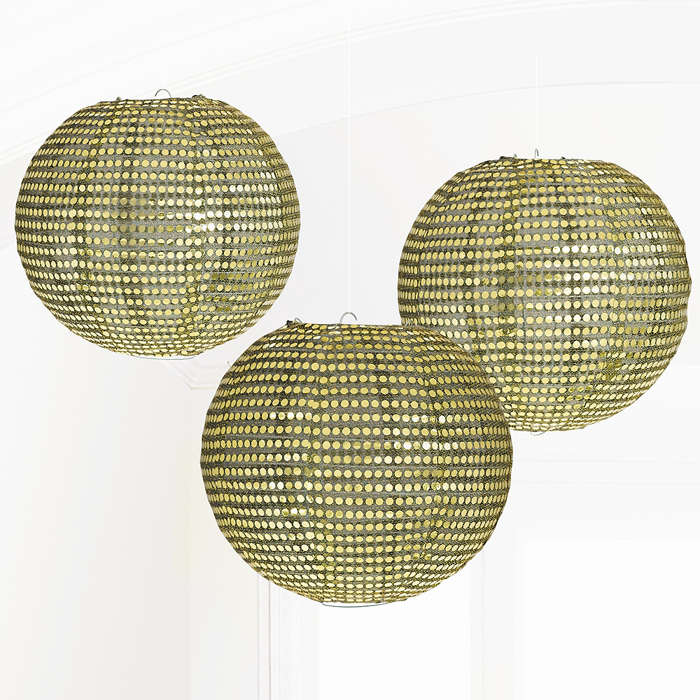 Gold Paper Lanterns, 9 1/2in, 3ct Image #1