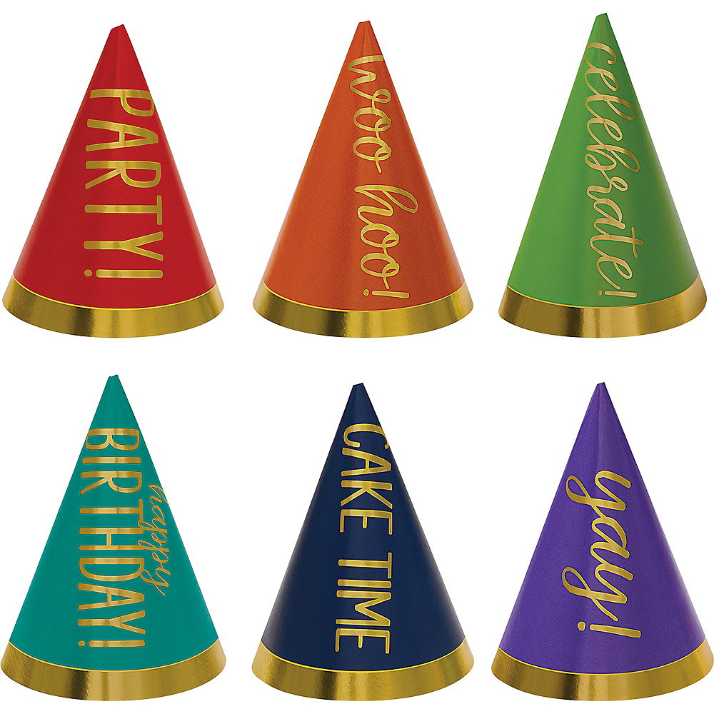 Nav Item for Mini Gold & Rainbow Birthday Celebration Party Hats 12ct Image #1