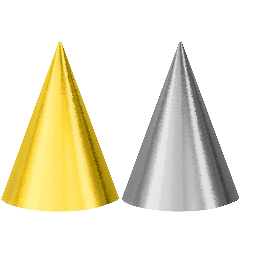 Metallic Gold & Silver Party Hats 12ct Image #1