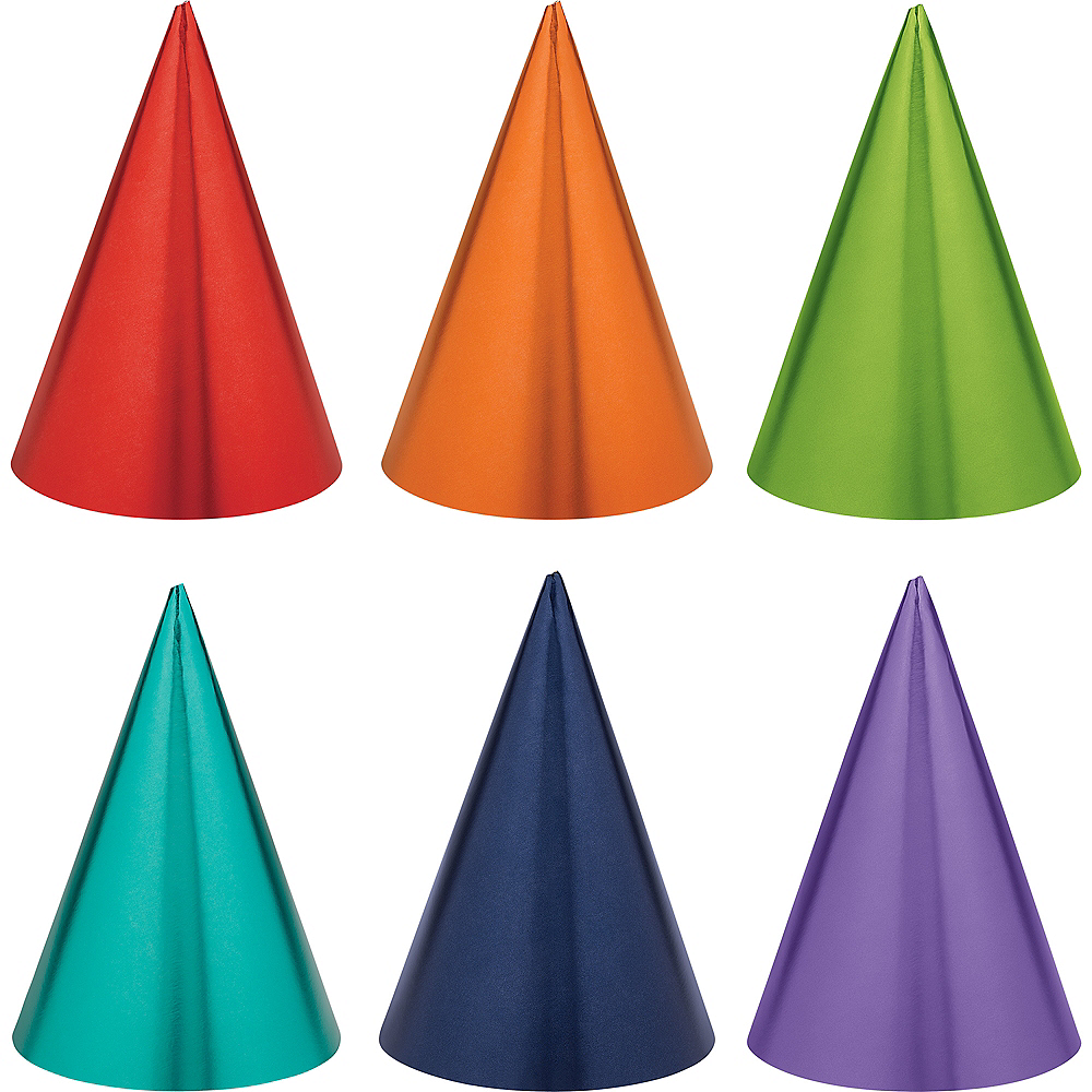 Nav Item for Metallic Rainbow Celebration Party Hats 12ct Image #1