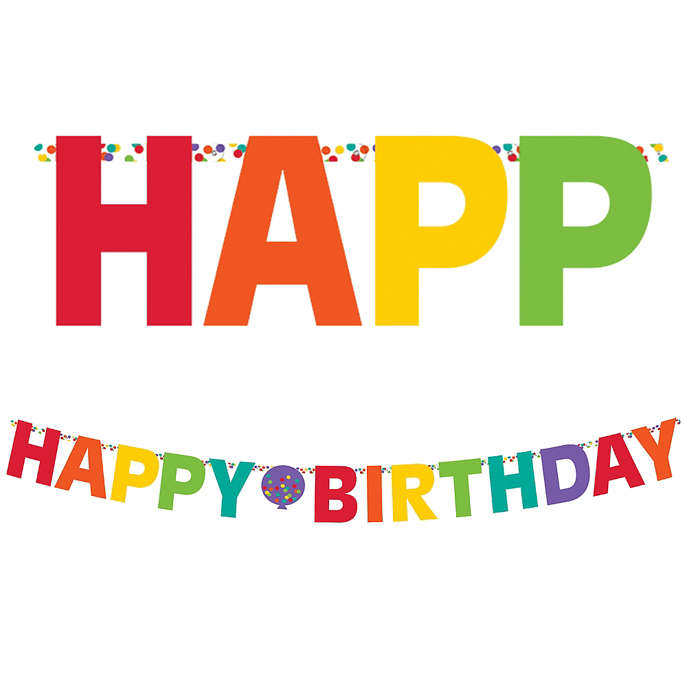 Rainbow Party Balloons Happy Birthday Letter Banner Image #1