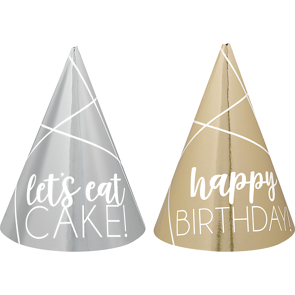 Mini Metallic Gold & Silver Birthday Party Hats 12ct Image #1