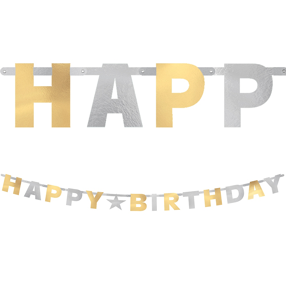 Metallic Gold & Silver Birthday Letter Banner Image #1