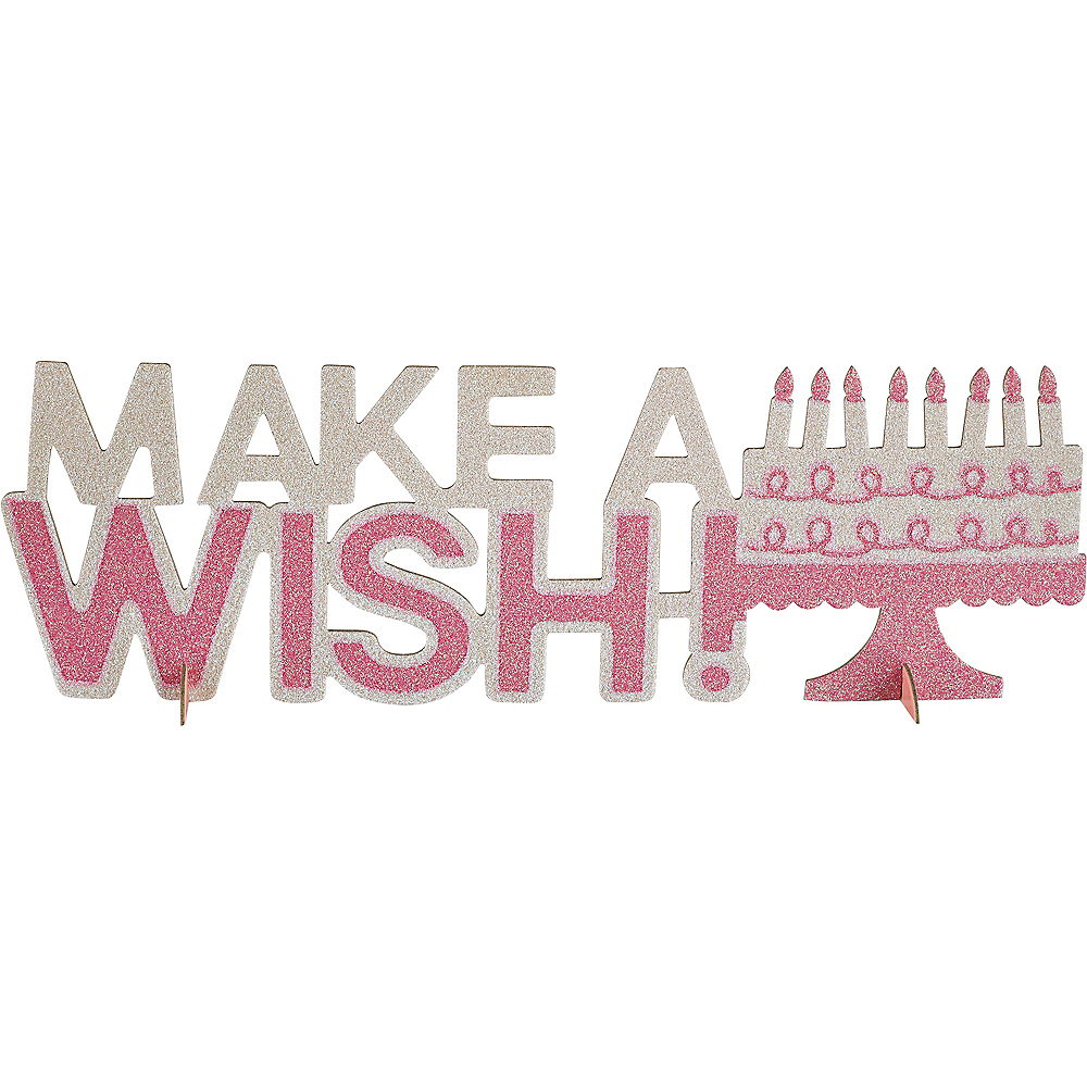 Pink Glitter Make A Wish Birthday Centerpiece Image #1