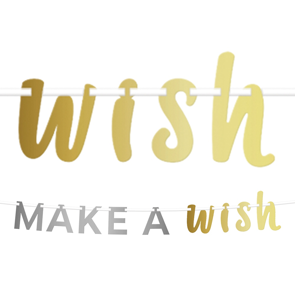 Metallic Gold & Silver Make A Wish Letter Banner Image #1