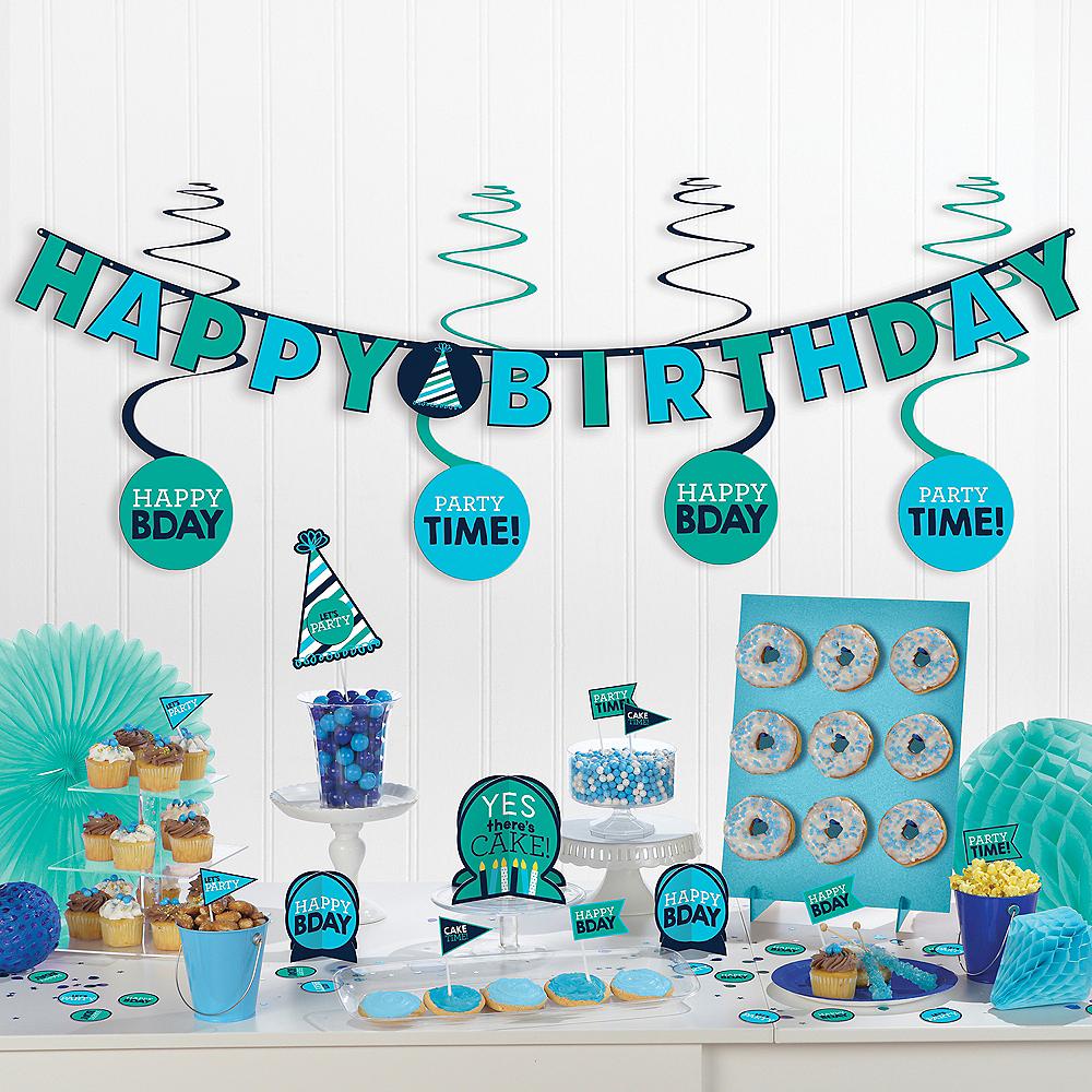 Shades of Blue Birthday Decoration Kit 37pc Image #1