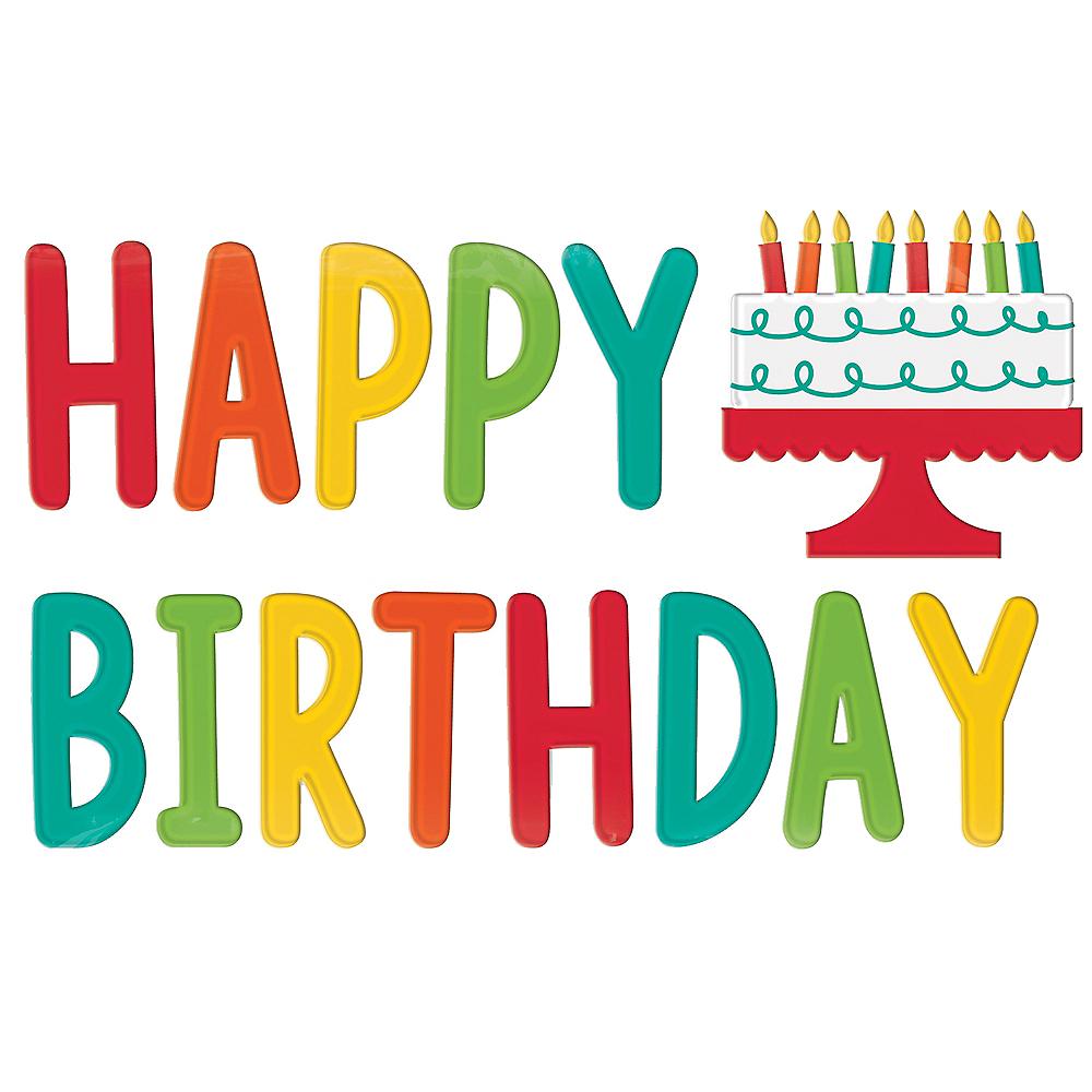 Rainbow Happy Birthday Gel Cling Decals 14pc Image #1
