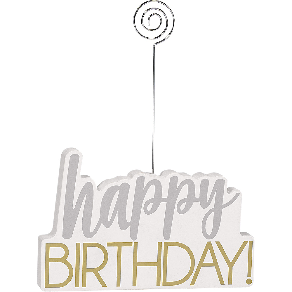 Gold & Silver Happy Birthday Photo Holder Image #1