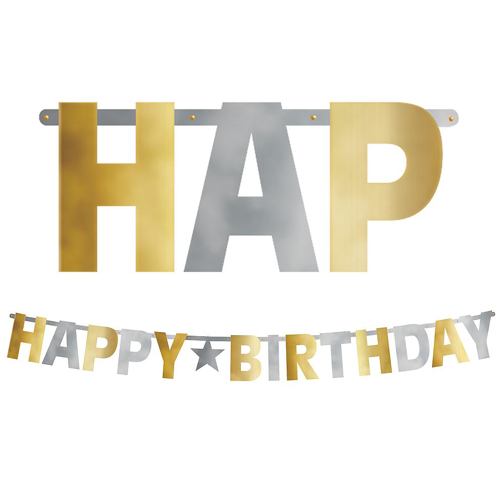 Giant Metallic Gold & Silver Happy Birthday Banner Image #1