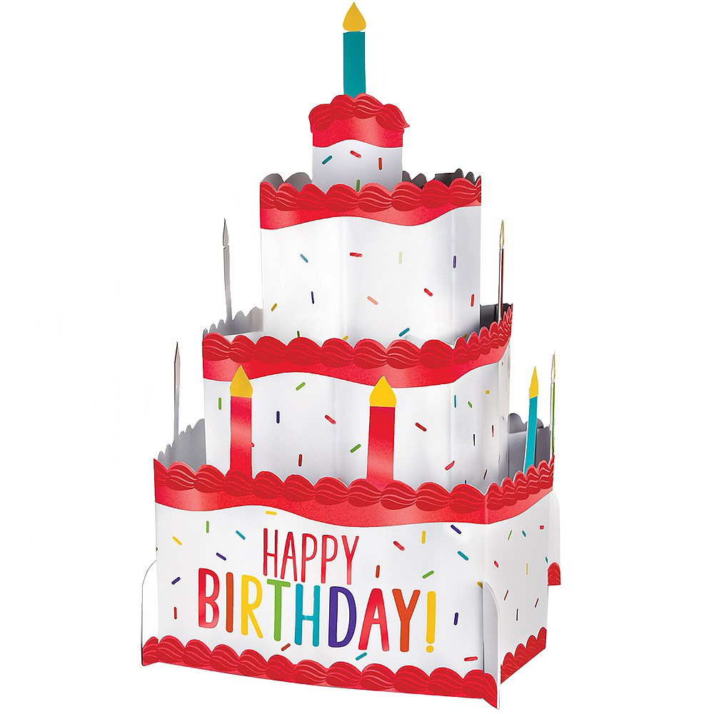 Rainbow Celebration Birthday Cake Pop-Up Centerpiece Image #1