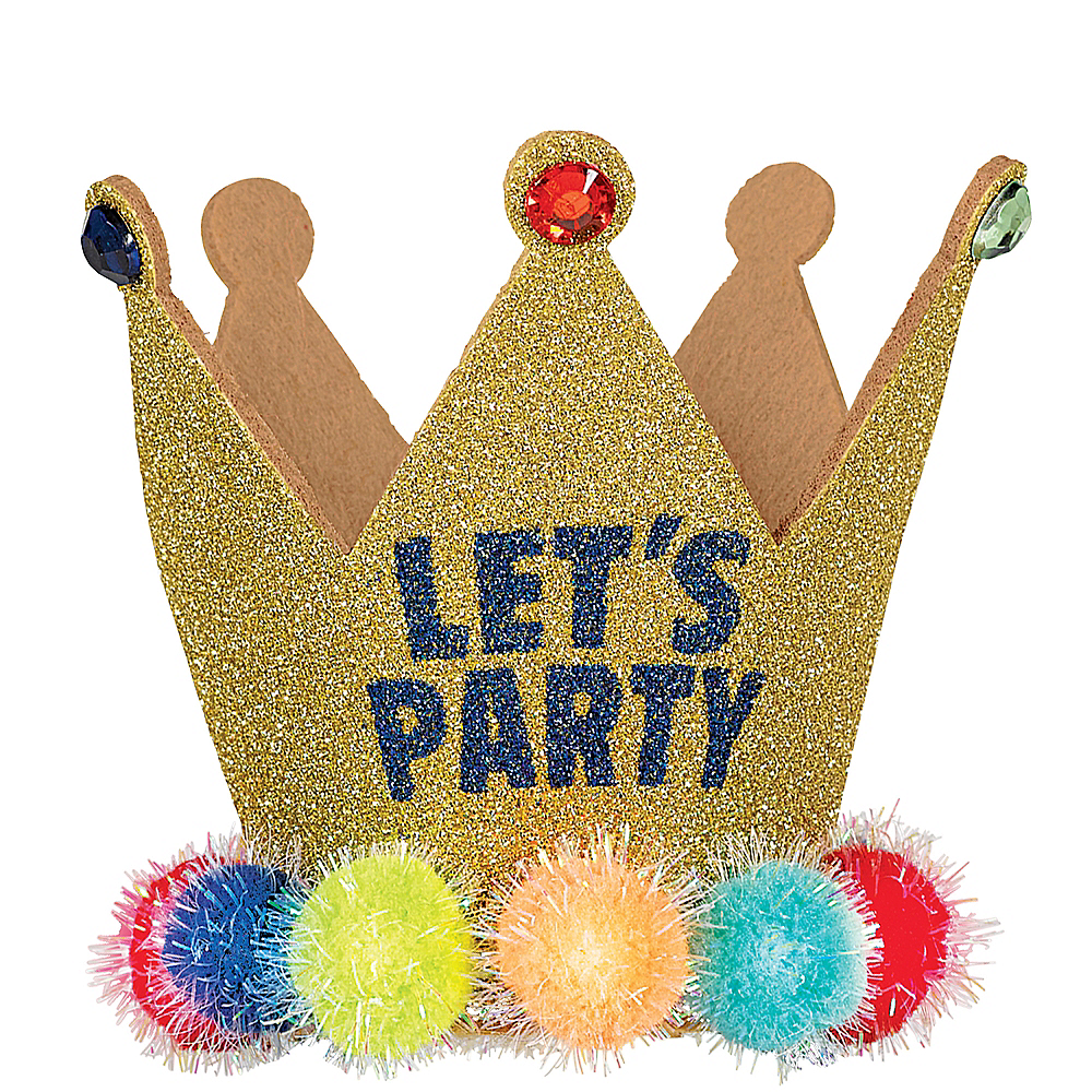Light-Up Glitter Let's Party Crown Headband Image #1