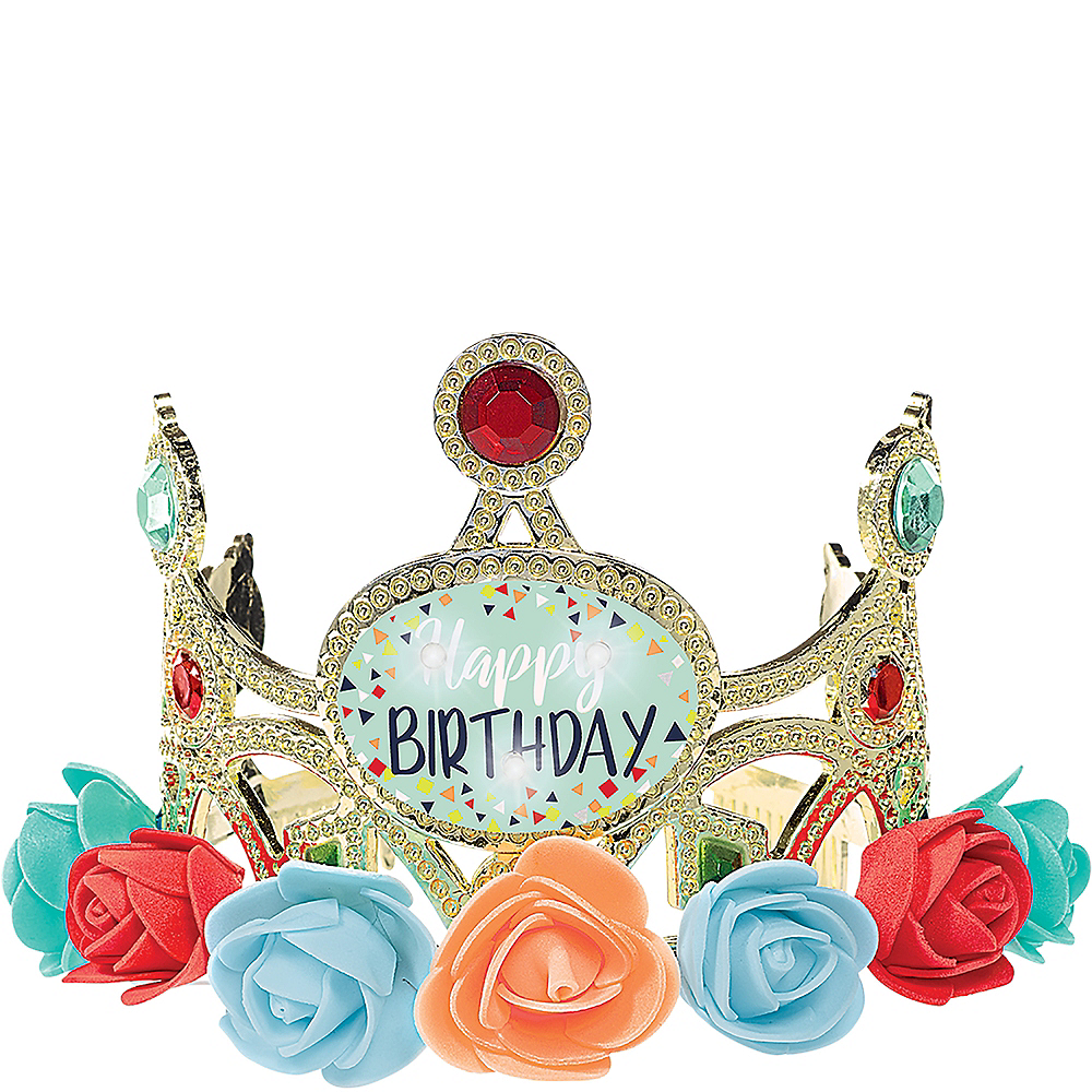 Child Light-Up Floral Happy Birthday Tiara Image #1