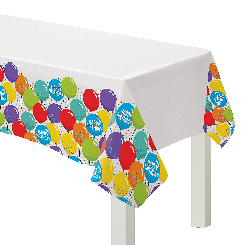 Balloon Birthday Celebration Plastic Table Cover 3ct Image #1