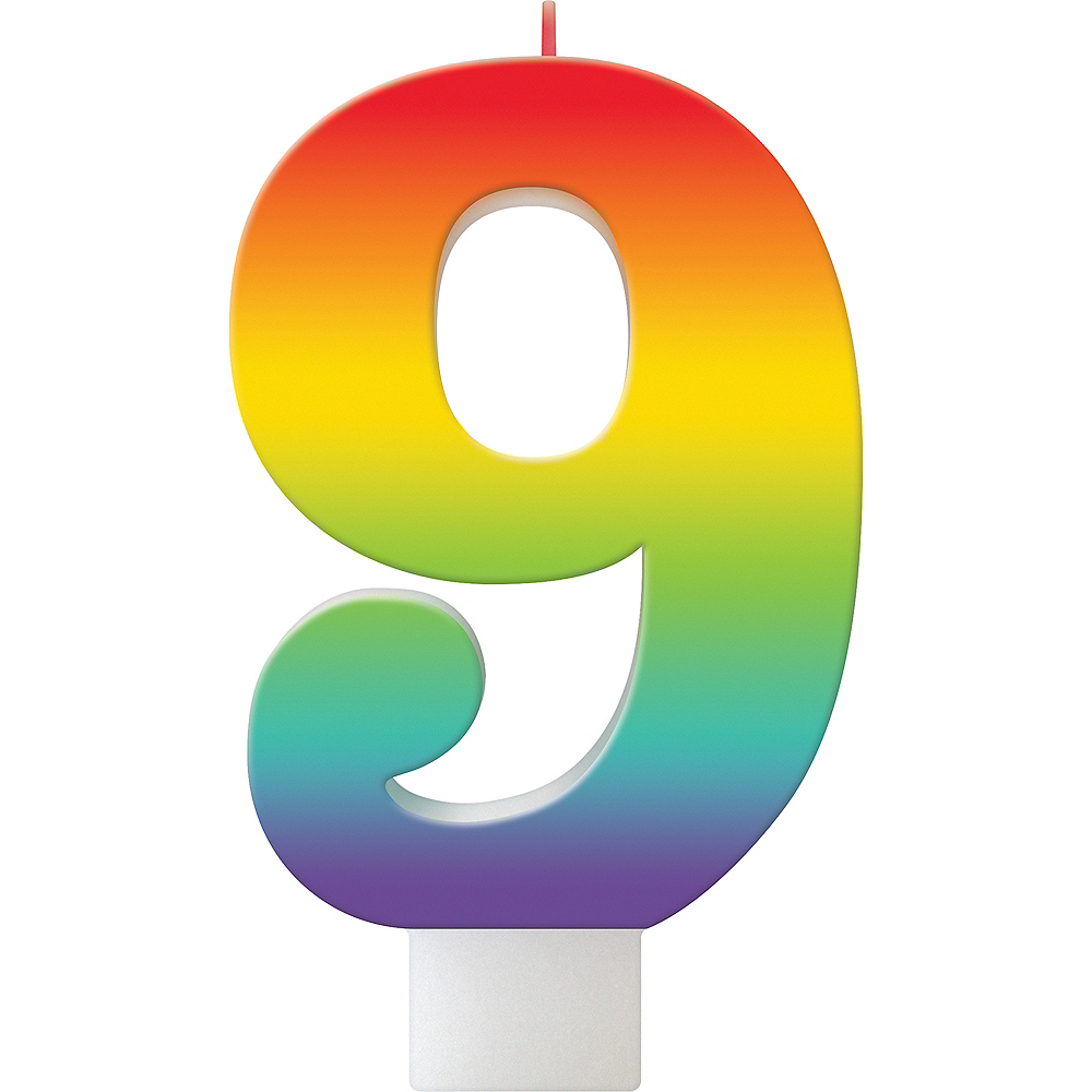 Rainbow Number 9 Birthday Candle Image #1