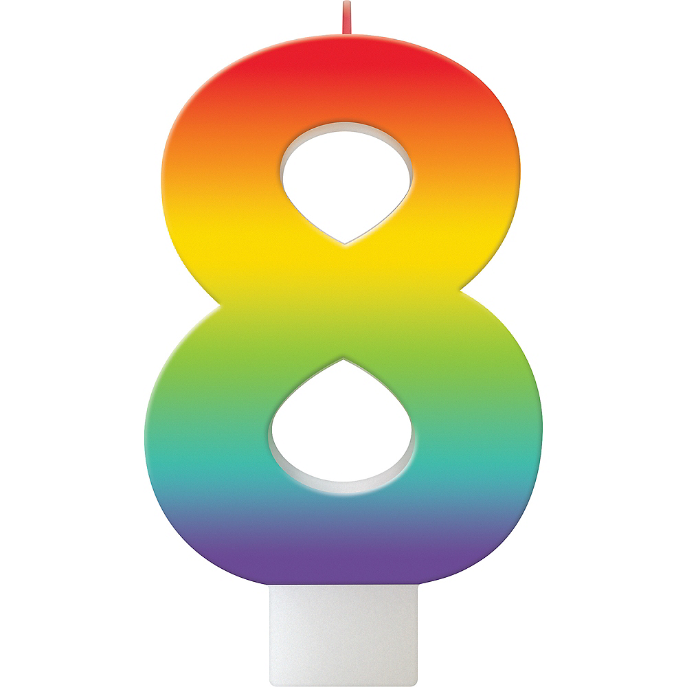 Rainbow Number 8 Birthday Candle Image #1