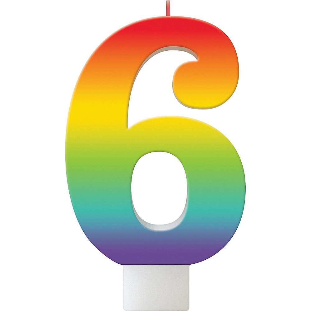 Rainbow Number 6 Birthday Candle Image #1