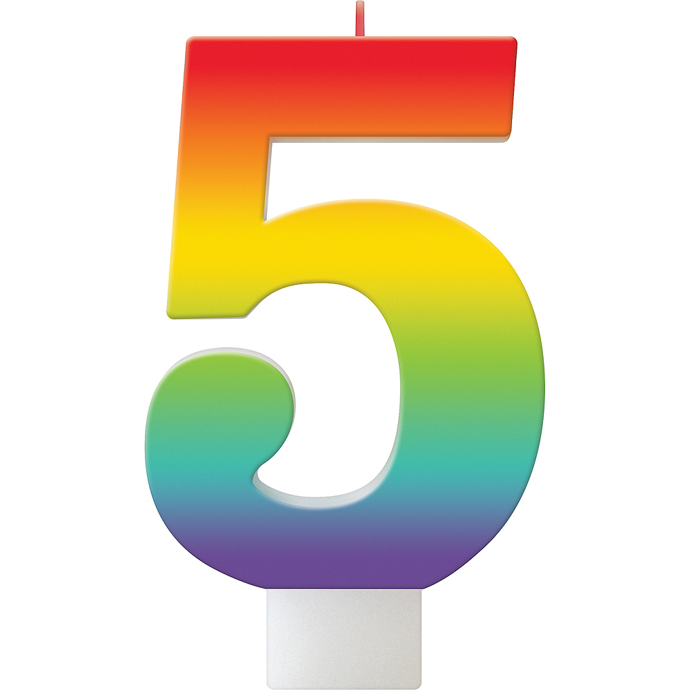Rainbow Number 5 Birthday Candle Image #1
