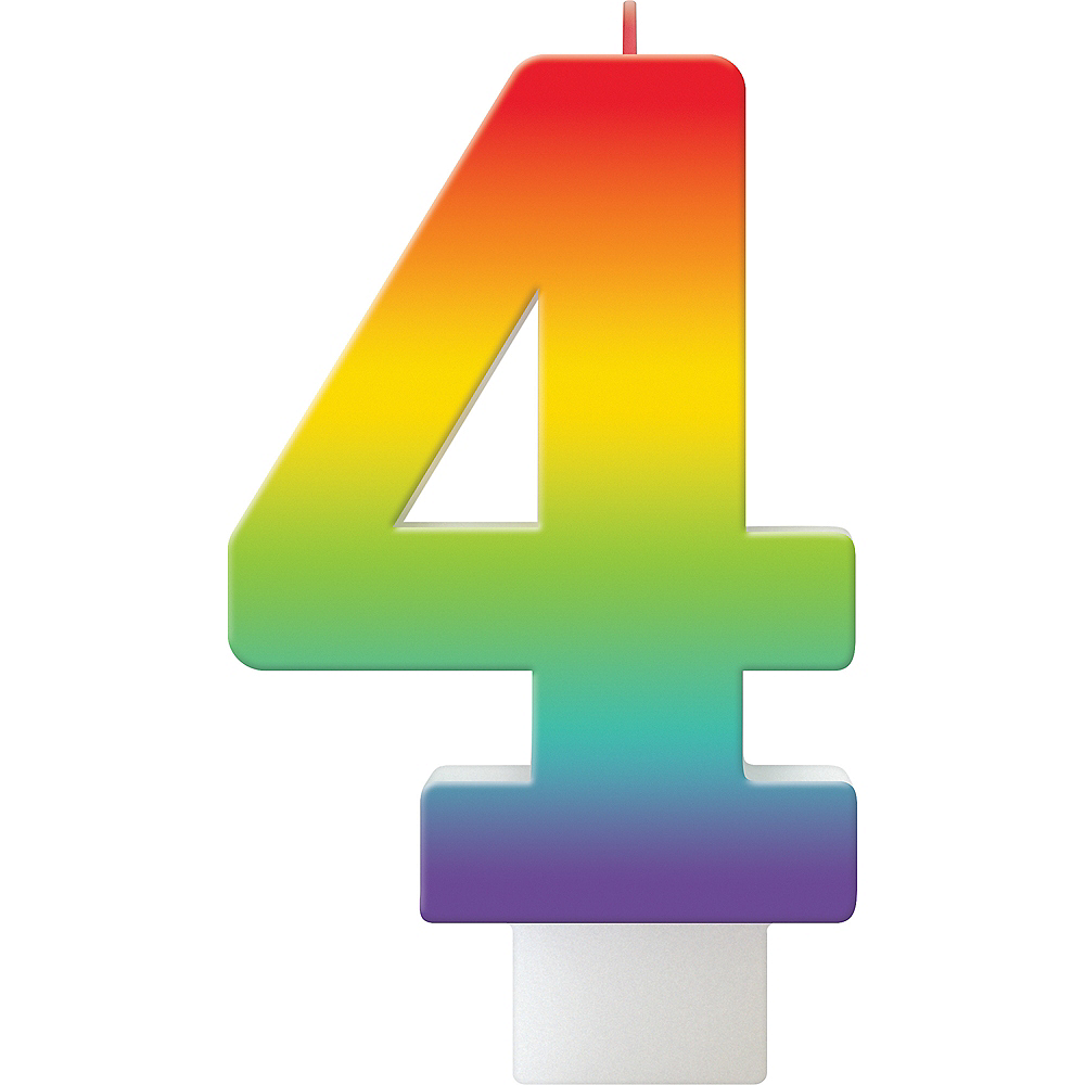 Rainbow Number 4 Birthday Candle Image #1