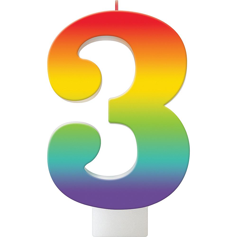 Rainbow Number 3 Birthday Candle Image #1