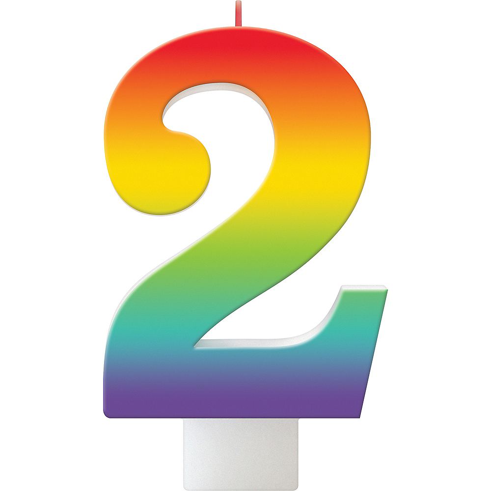 Rainbow Number 2 Birthday Candle Image #1
