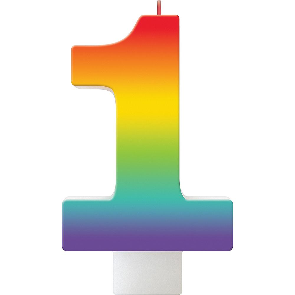 Rainbow Number 1 Birthday Candle Image #1