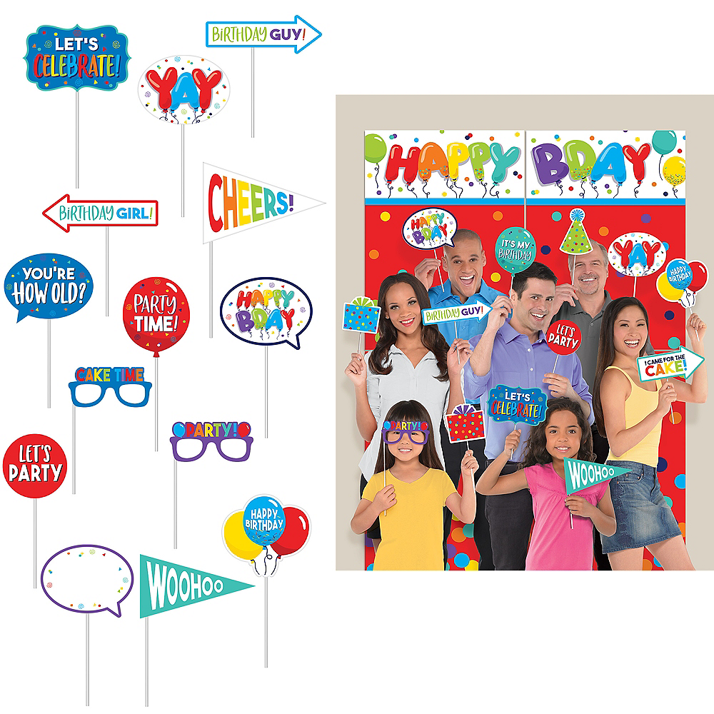Birthday Balloons Scene Setter with Photo Booth Props 23pc Image #1