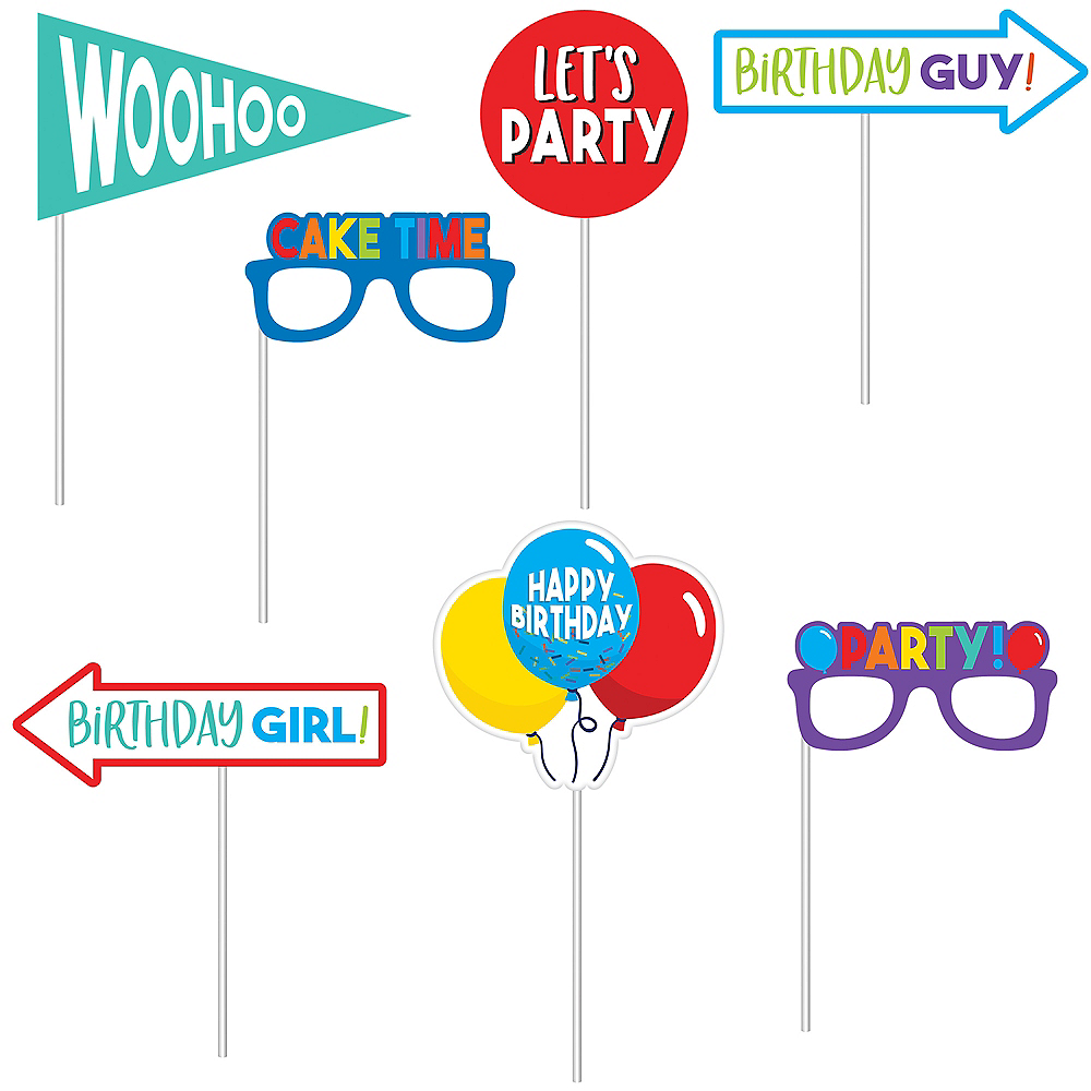 Birthday Balloons Scene Setter with Photo Booth Props 23pc Image #3
