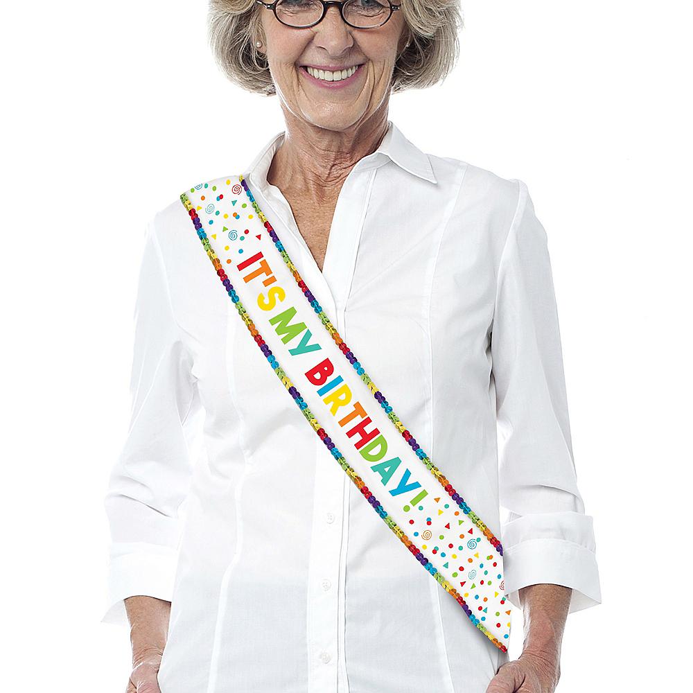 Rainbow Sequin & Confetti It's My Birthday Sash Image #1