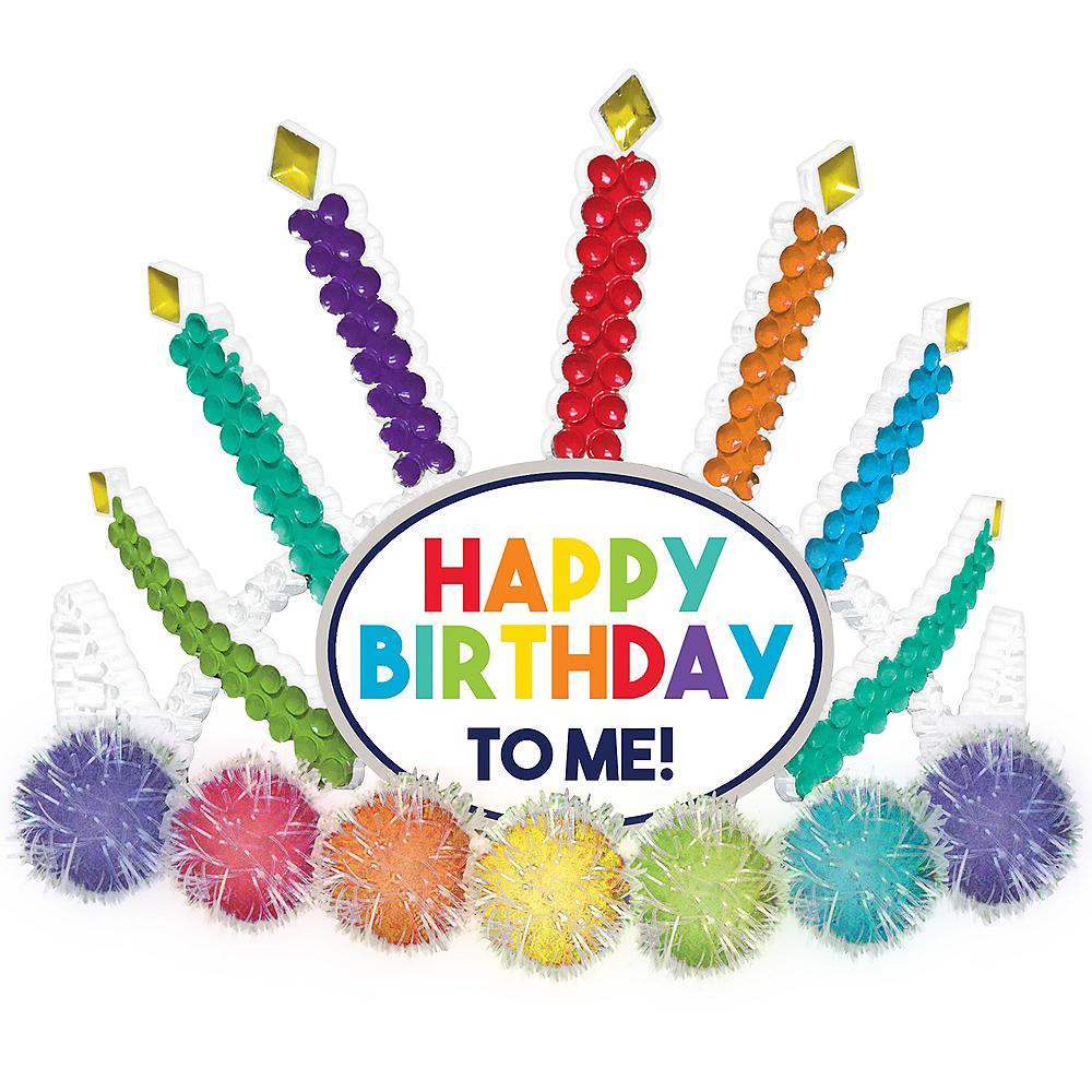 Child Light-Up Multicolor Pom-Pom Happy Birthday to  Me Tiara Image #1
