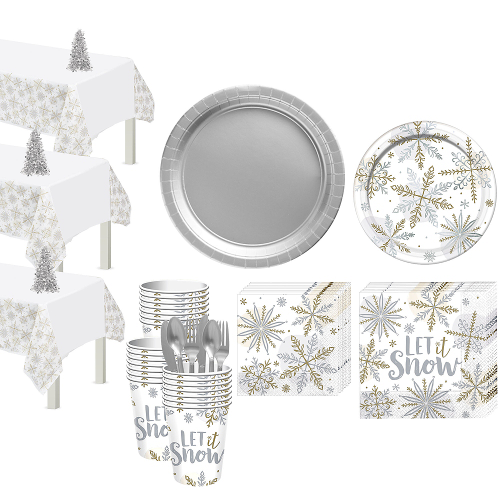 Nav Item for Metallic Sparkling Snowflake Tableware Kit for 56 Guests Image #1