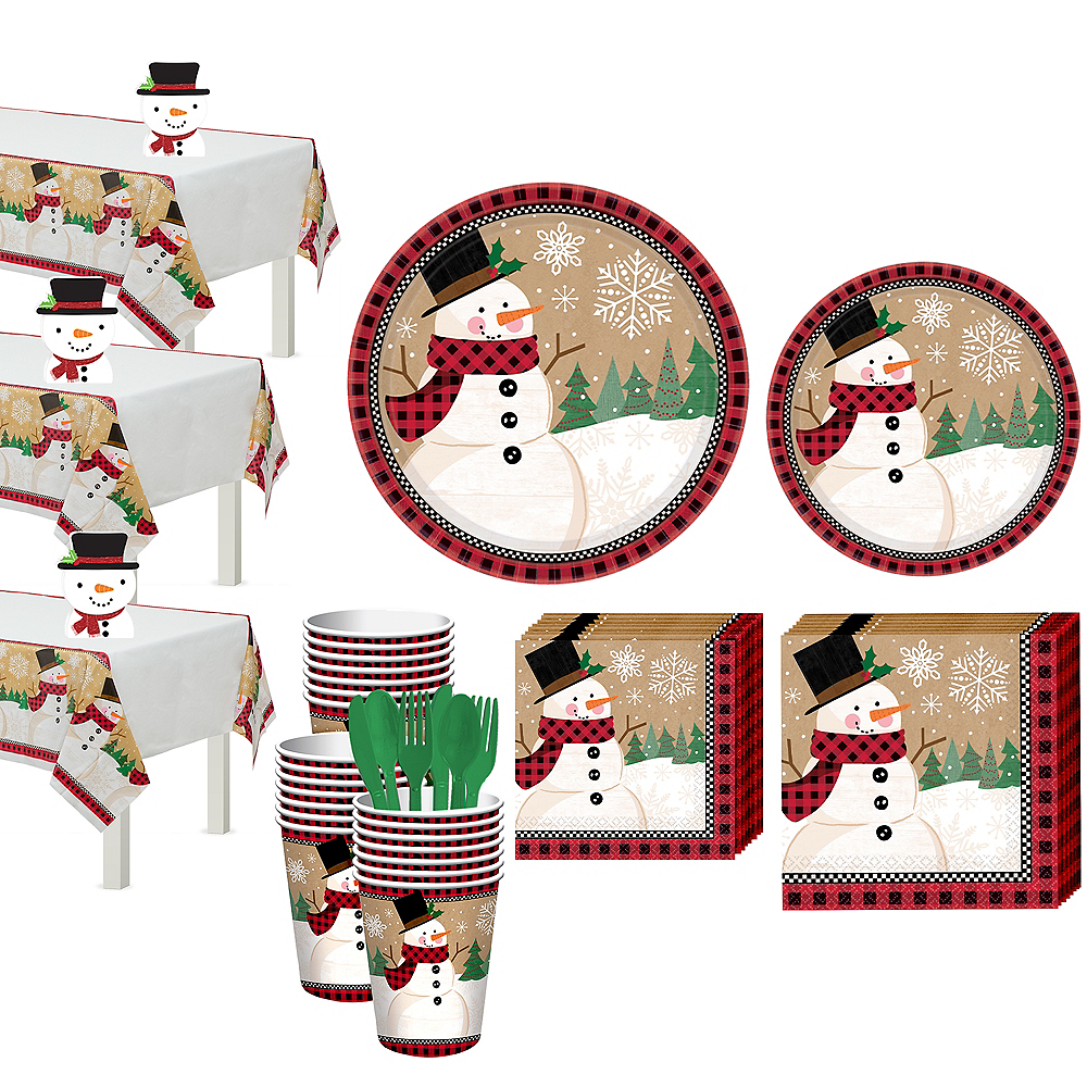 Winter Wonder Snowman Tableware Kit for 56 Guests Image #1