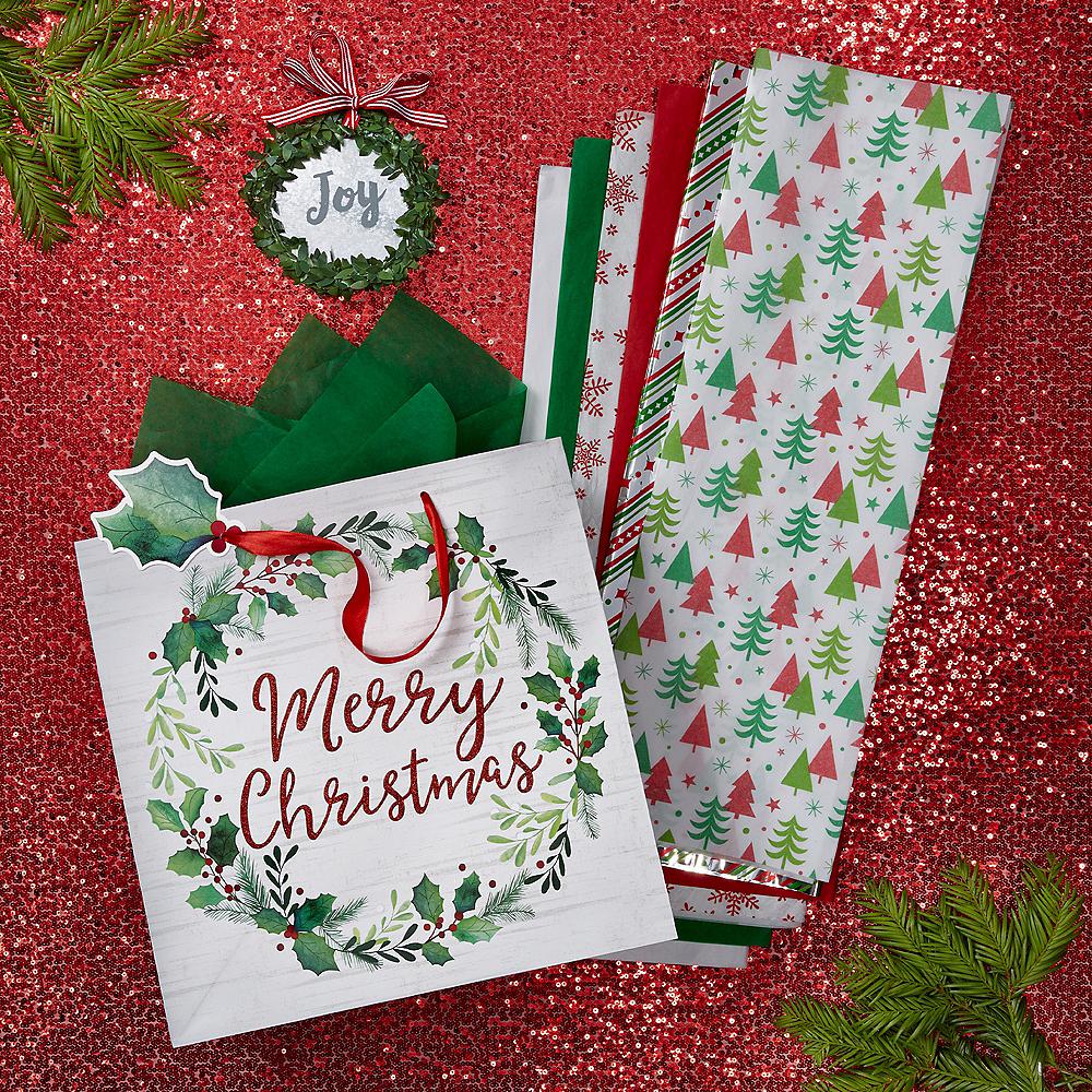 Merry Christmas Wreath Gift Wrap Kit Image #1