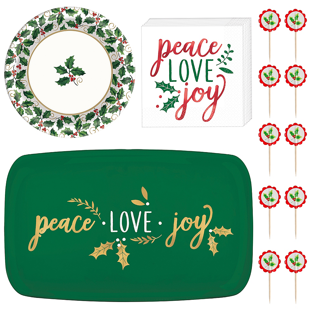 Peace Love Joy Dessert Tableware Kit for 32 Guests Image #1