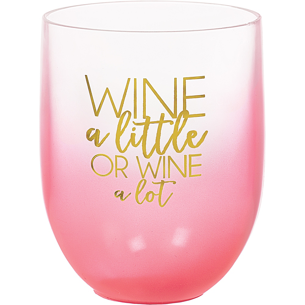 Pink Ombre Wine a Little or Wine a Lot Plastic Stemless Wine Glass, 15oz Image #1