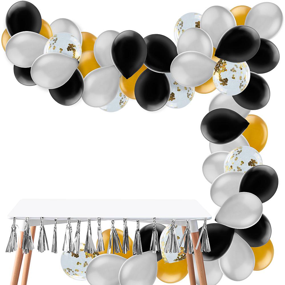 Air-Filled Black, Gold & Silver Balloon Garland Kit Image #1