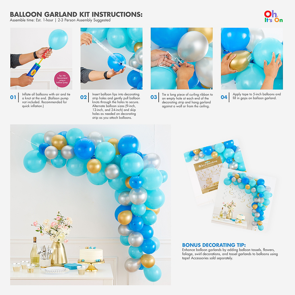 Gold & Pink Balloon Garland Kit Image #2