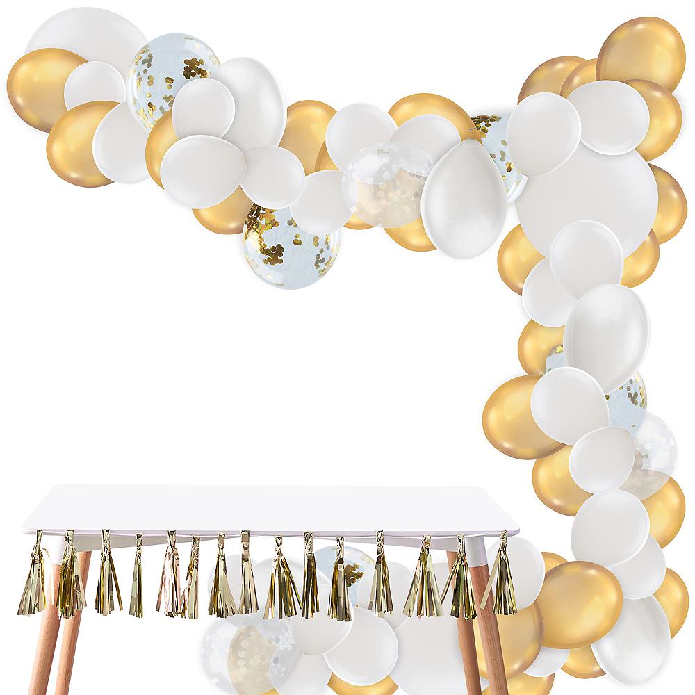 Air-Filled Gold & White Balloon Garland Kit Image #1