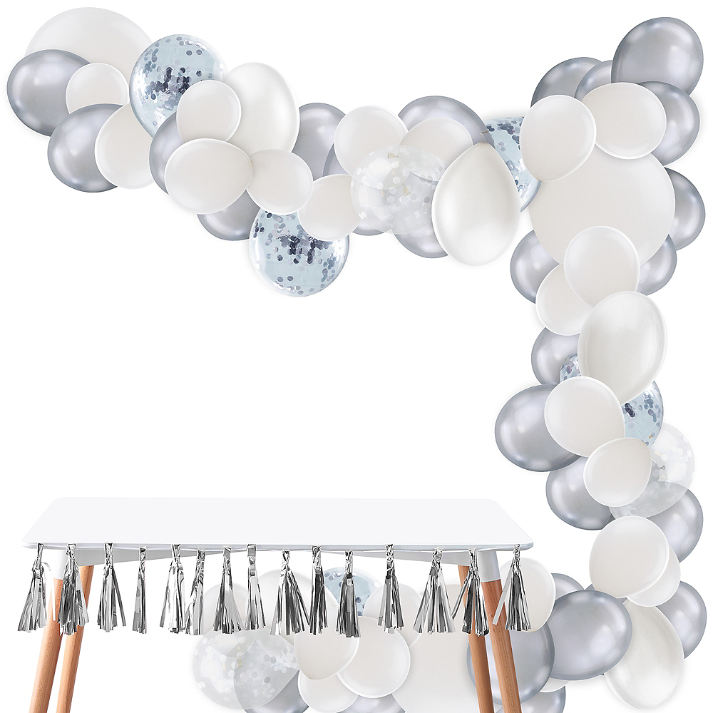 Air-Filled Silver & White Balloon Garland Kit Image #1
